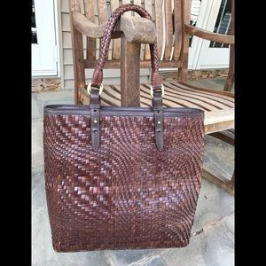 Cole Haan Basket Weave Tote with Matching Wallet